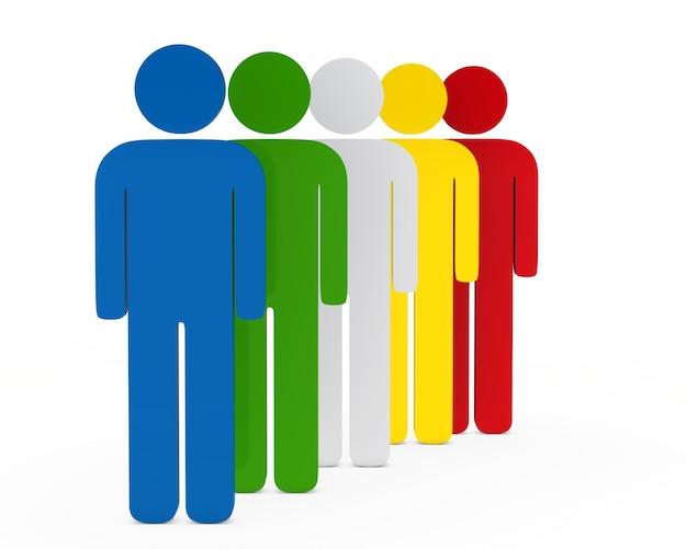 3d-personages in verschillende kleuren Gratis Foto