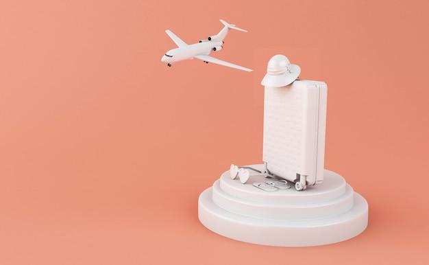 3d-reizen koffer en vliegtuig. reis concept. Premium Foto