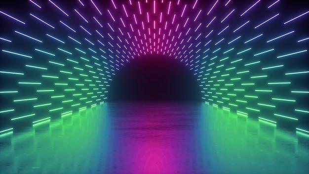 3d render, abstract neon van prestatiestadium met roze blauwe gloeiende lijnen Premium Foto