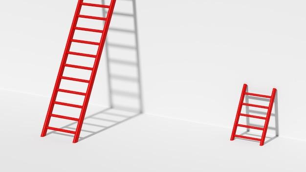3d render ladder naar succes met een betere manier om doelmotivatie te bereiken Premium Foto