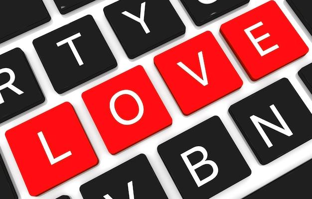 3d render liefde concept sleutel. 3d render van enter-knop met rood hart. liefde concept Premium Foto