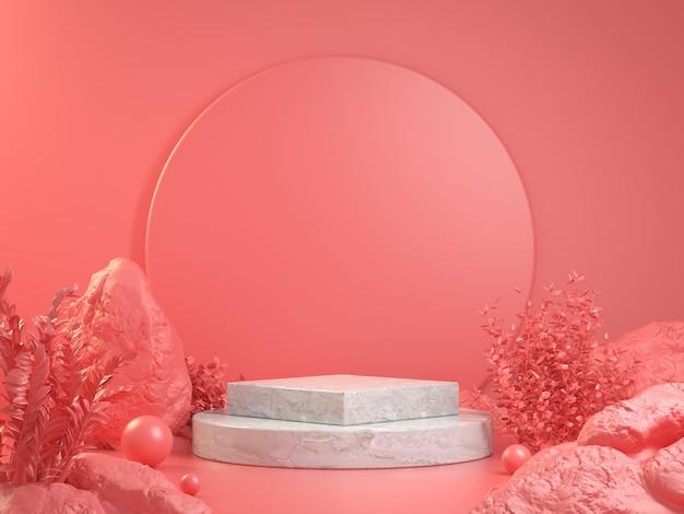 3d render mockup podiumpodium met roze bos abstracte achtergrond concept illustratie Premium Foto