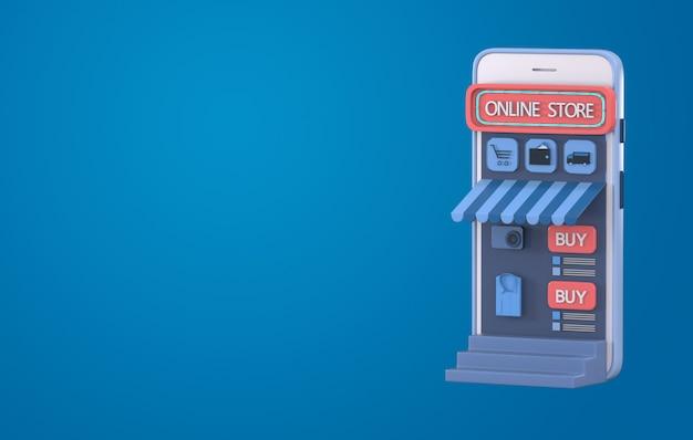 3d render online winkelen op website of mobiele applicatie concept. Premium Foto