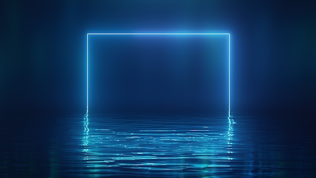 3d render shining blue neon square over water Premium Foto