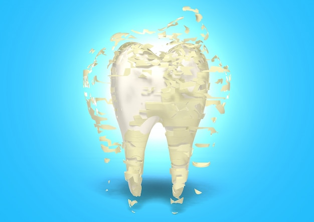 3d render tand schoonmaken, beschermen tegen tandbederf, tand whitening concept, tanden bleken Premium Foto