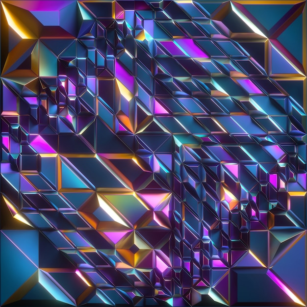 3d render van abstracte gefacetteerde achtergrond met iriserende blauw geel roze metalen textuur Premium Foto