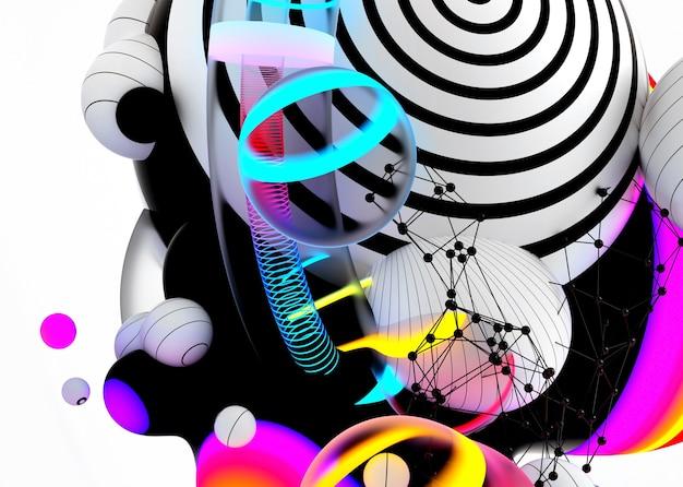 3d render van abstracte kunst 3d achtergrond met surrealistische vliegende metaballen bollen bubbels of feestelijke partij ballonnen Premium Foto
