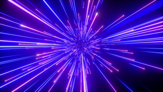 3d render van abstracte neon met blauw sprankelend vuurwerk Premium Foto