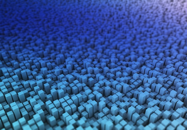 3d render van een abstract blokkenlandschap met ondiepe scherptediepte Gratis Foto