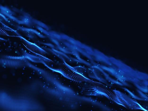 3d render van een abstract digitaal met moderne vloeiende deeltjes Gratis Foto