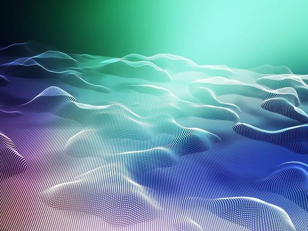 3d render van een abstract landschap van vloeiende stippen Gratis Foto