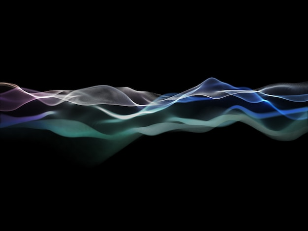 3d render van een abstracte achtergrond met vloeiend deeltjesontwerp Gratis Foto