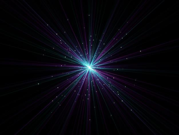 3d render van een abstracte zoom effect achtergrond met exploderende deeltjes Gratis Foto
