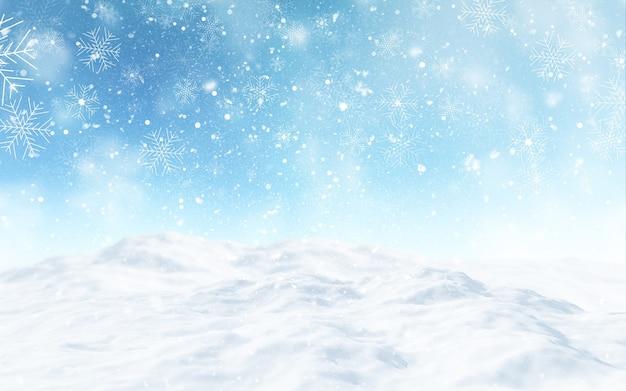 3d render van een besneeuwd kerstlandschap Gratis Foto