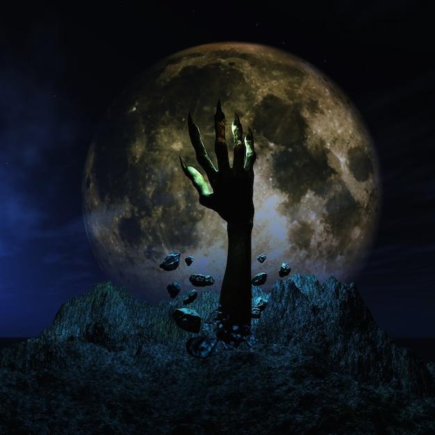 3d render van een halloween achtergrond met zombie de hand losbarsten uit de grond Gratis Foto