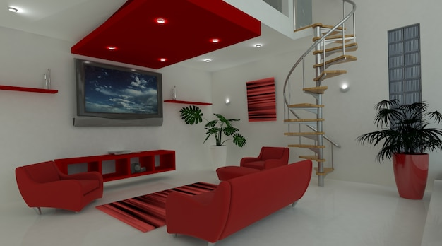 3d render van een hedendaagse interieur leefruimte foto gratis download - Hedendaagse interieurs ...
