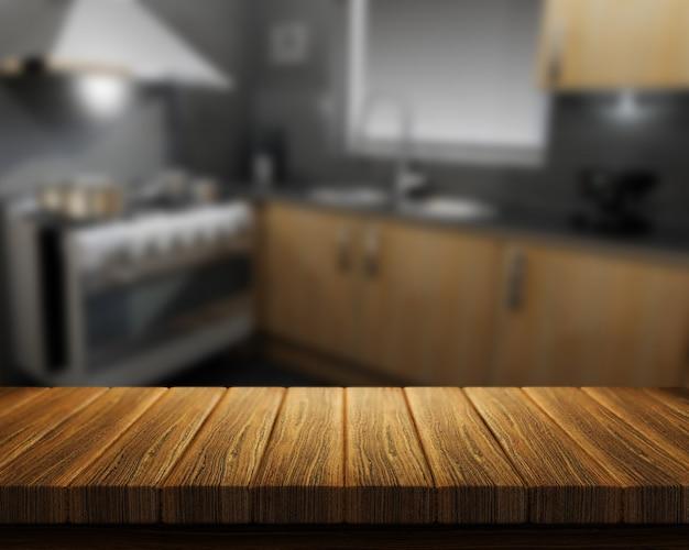 3d render van een houten tafel met een keuken op de achtergrond Gratis Foto
