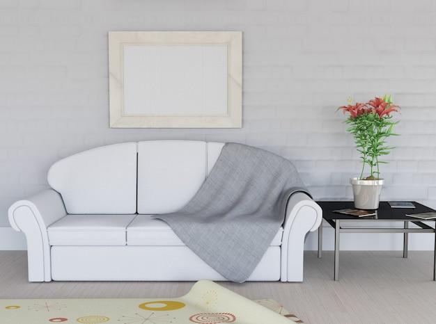 3d render van een kamer interieur met leeg foto frame op de muur gratis foto