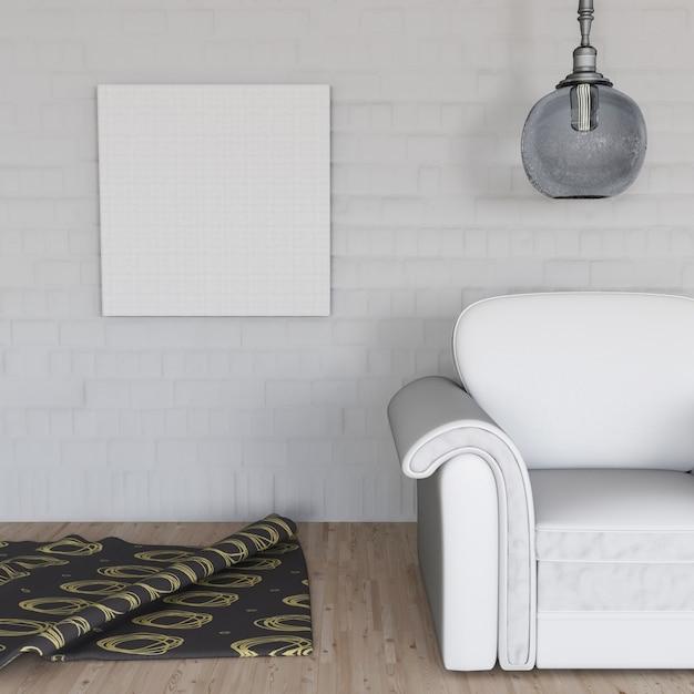 3d render van een kamer interieur met lege doek op de muur gratis foto