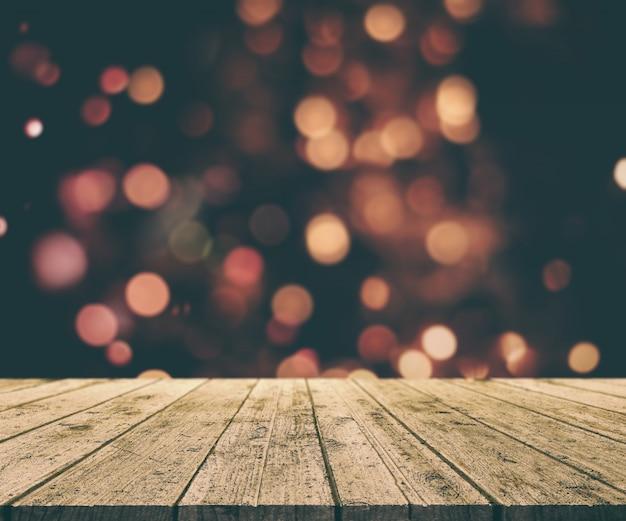 D render van een kerst achtergrond met oude houten tafel tegen de