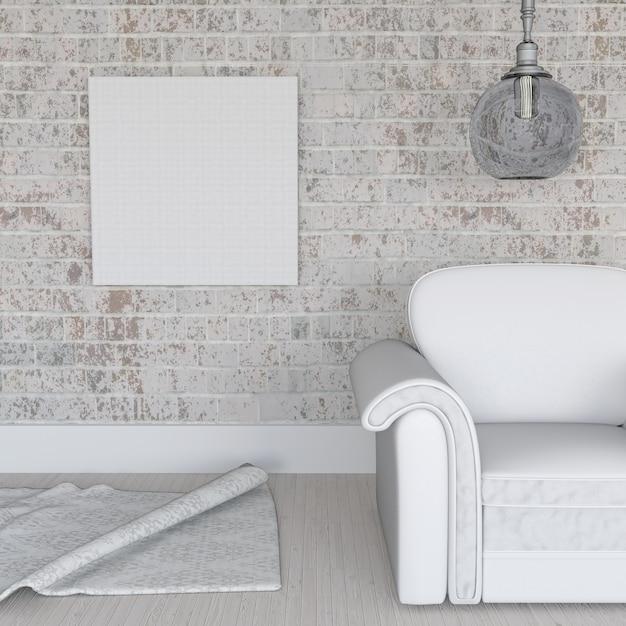 3d render van een leeg doek op grunge bakstenen muur in kamer interieur Gratis Foto