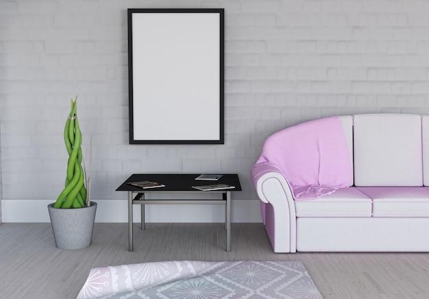 3d render van een leeg fotolijst in kamer interieur foto for 3d interieur ontwerpen gratis