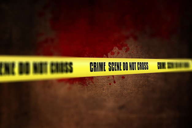 3d render van een misdaad scene tape tegen defocussed achtergrond Gratis Foto