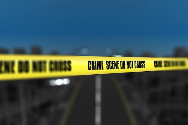 3d render van een misdaad scene tape tegen wazige stad achtergrond Gratis Foto