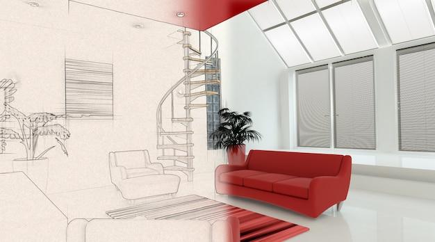 3d render van een modern interieur met een half in schets fase Gratis Foto