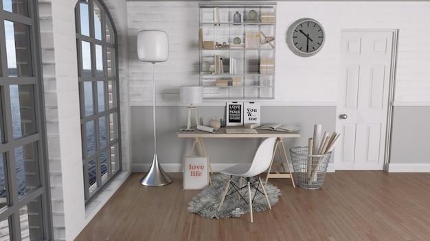 Modern Kantoor Interieur : D render van een modern kantoor interieur foto gratis download
