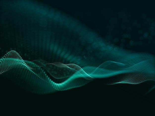 3d render van een moderne achtergrond met stromende cyber deeltjes Gratis Foto