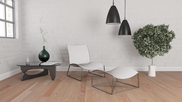 3d render van een moderne kamer interieur gratis foto