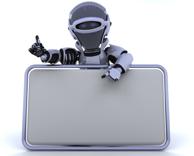 3d render van een robot en lege teken Gratis Foto