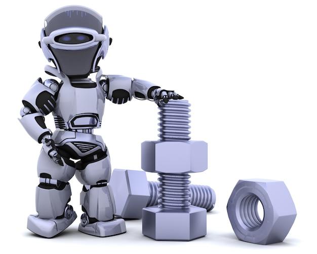 3d render van een robot met bouten en moeren Gratis Foto