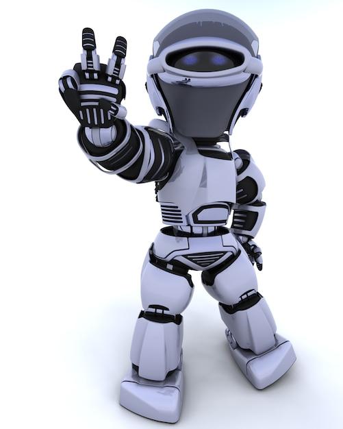 3d render van een robot presenteren vredesteken Gratis Foto