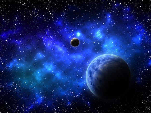 3d render van een ruimteachtergrond met abstracte planeten en nevel Gratis Foto