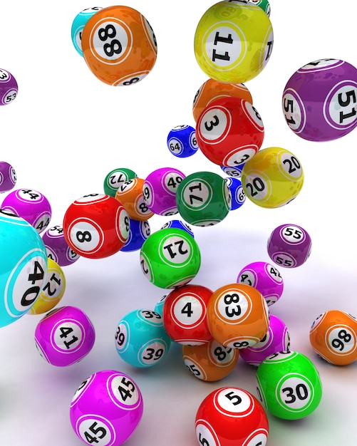 3d render van een set van colouored bingo ballen Gratis Foto