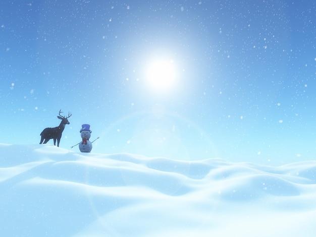 3d render van een sneeuwpop en herten in een kerst winterlandschap Gratis Foto