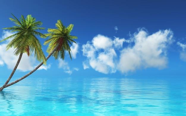 3d render van een tropisch landschap met palmbomen en blauwe zee Gratis Foto