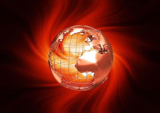 3d render van een wireframe globe op vurig Gratis Foto