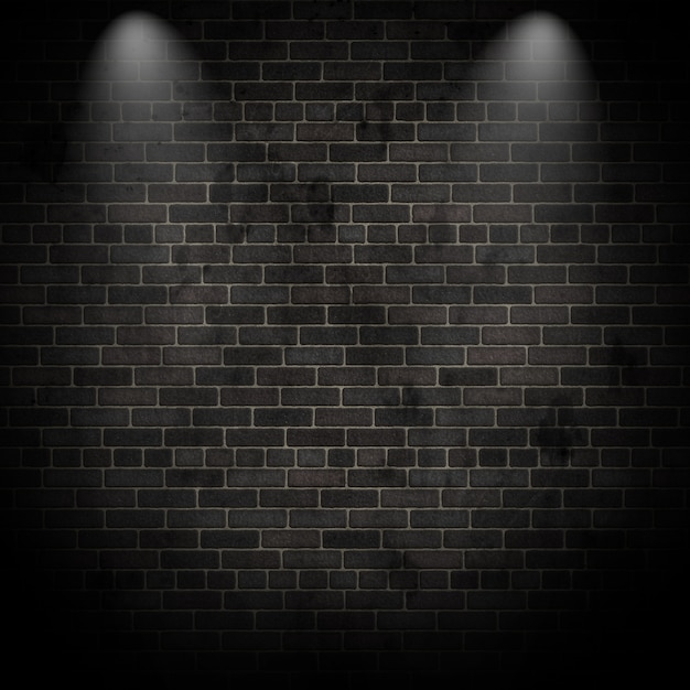 3D render van spotlights op een grunge bakstenen muur Gratis Foto