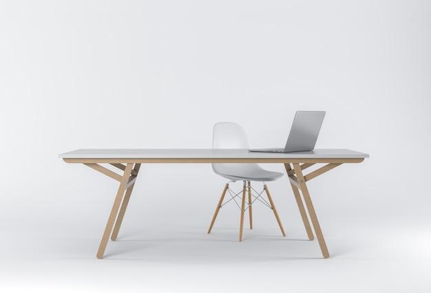 D render van studio met een bureau stoel en laptop foto