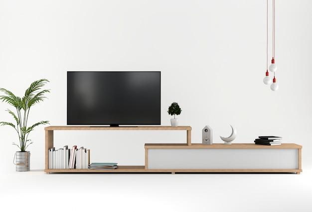 3d render van studio met smart tv kast decoratie. foto premium