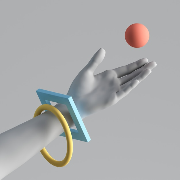 3d render van witte kunstmatige hand met kleurrijke geometrische armbanden. Premium Foto