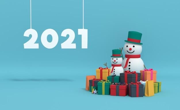 3d-rendering 2021 met geschenkdoos en sneeuwpop. Premium Foto