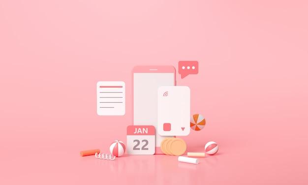 3d-rendering betaling via creditcard concept. veilige online betalingstransactie met smartphone. Premium Foto