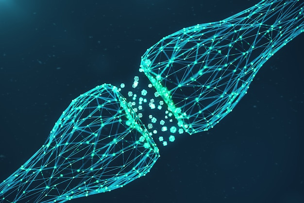 3d-rendering blauwe gloeiende synaps. kunstmatige neuron in concept van kunstmatige intelligentie. synaptische transmissielijnen van pulsen. abstracte veelhoekige ruimte laag poly met het verbinden van stippen en lijnen Premium Foto
