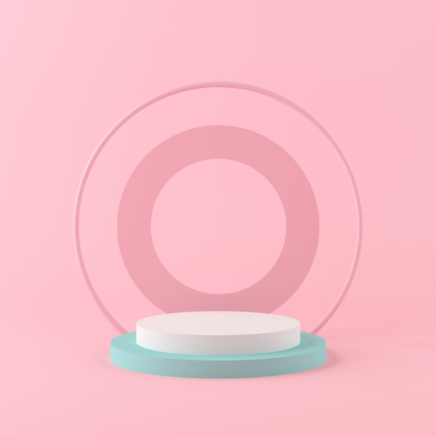 3d-rendering geometrie vormen bespotten scène minimaal concept, pastel kleuren podium en achtergrond voor product of parfum Premium Foto
