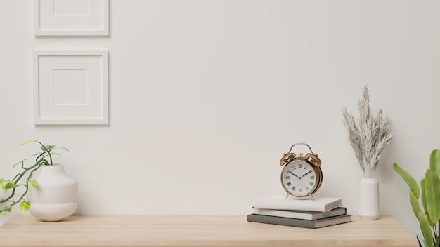 3d-rendering, huis interieur met decoraties en plantenpotten op het bureau met witte muur achtergrond Premium Foto