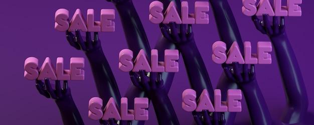 3d-rendering illustratie banner met handen met cirkel in paars Premium Foto